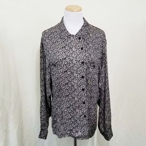 Vintage Christan Dior blouse black cream floral 14
